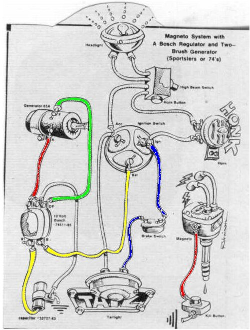 Well the diagram is a great start... We acquired a new Accel solid-state replacement for a mechanical regulator off a 68-75 Sportster and an Accel battery ...